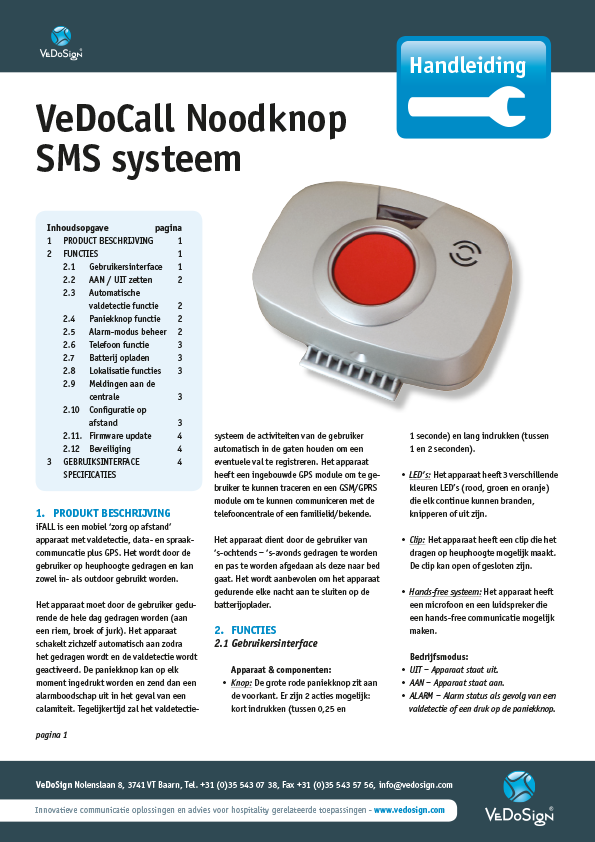 pdf Handleiding Noodknop SMS systeem
